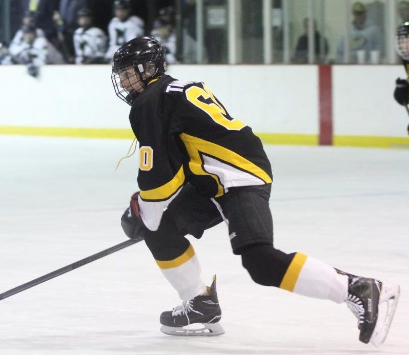 Senior Phillip Tannfelt pushes the puck up the rink in a game against Marquette on Feb. 2.