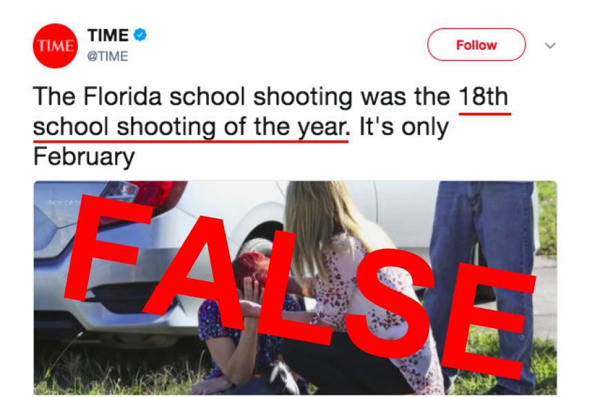 On+Feb.+15+at+4%3A00+a.m.%2C+%40TIME+tweeted+%22The+Florida+school+shooting+was+the+18th+school+shooting+of+the+year.+It%27s+only+February%22+along+with+a+link+to+a+story+on+time.com+with+the+headline+%22The+Florida+School+Shooting+Was+the+18th+School+Shooting+of+the+Year.%22+This+statement+has+been+proved+to+be+incorrect+and+that+headline+has+been+changed+to+%22The+Florida+School+Shooting+Was+One+of+Several+This+Year.+And+It%E2%80%99s+Only+February.%22