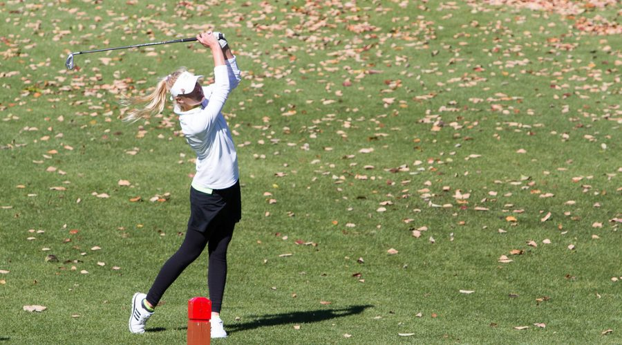 At+the+MSHSAA+girls+golf+State+Championship+match+in+Kansas+City%2C+Missouri%2C+sophomore+Brooke+Biermann+watches+her+shot.+Biermann+finished+second+at+State%2C+shooting+one+under+par+on+the+18-hole+course%2C+