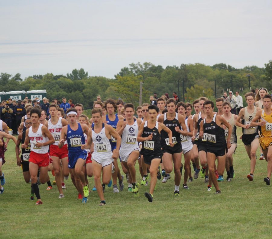At+the+start+of+the+Sept.+29+race+at+Living+Word+Church%2C+the+boys+cross+country+team+fights+to+get+to+the+front+of+the+pack.+The+Lancers+placed+sixth+overall+at+the+Parkway+West+Invitational%2C+and+senior+Harrison+Brown+places+third+overall.+