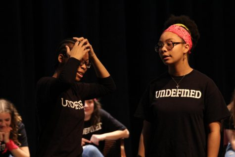 Taji Israel-Cazembe, Class of 2020, and junior Surayya Cazembe discuss the unconventional shampoo that Israel-Cazembe pretended apply during a show on Nov. 30, 2018. For Undefined