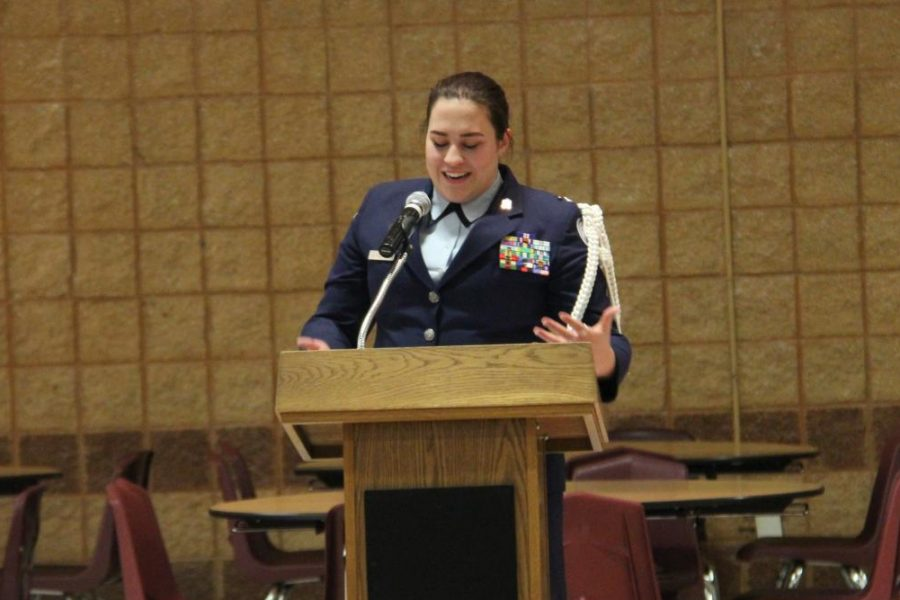 Kathryn Glusenkamp gives her final speech as Cadet Colonel. Glusenkamp's remarks were followed by the induction of Andrew Teague, senior, as Cadet Colonel and Courtney Joersz, senior, as Cadet Lieutenant Colonel.
