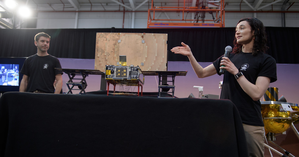 Klesh+and+systems+engineer+Annie+Marinan+discuss+the+Mars+Cube+One+%28MarCO%29+technology+demonstration+at+a+press+briefing+before+launch+at+Vandenberg+Air+Force+base.