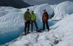 Andy Klesh (center) traveled to Alaska's Matanuska Glacier in 2017 to test out mapping technology in underwater tunnels called moulins. Klesh said that same technology may one day be used on Jupiter's moon Europa. Also pictured: Keeton Kroon and John Leighty.