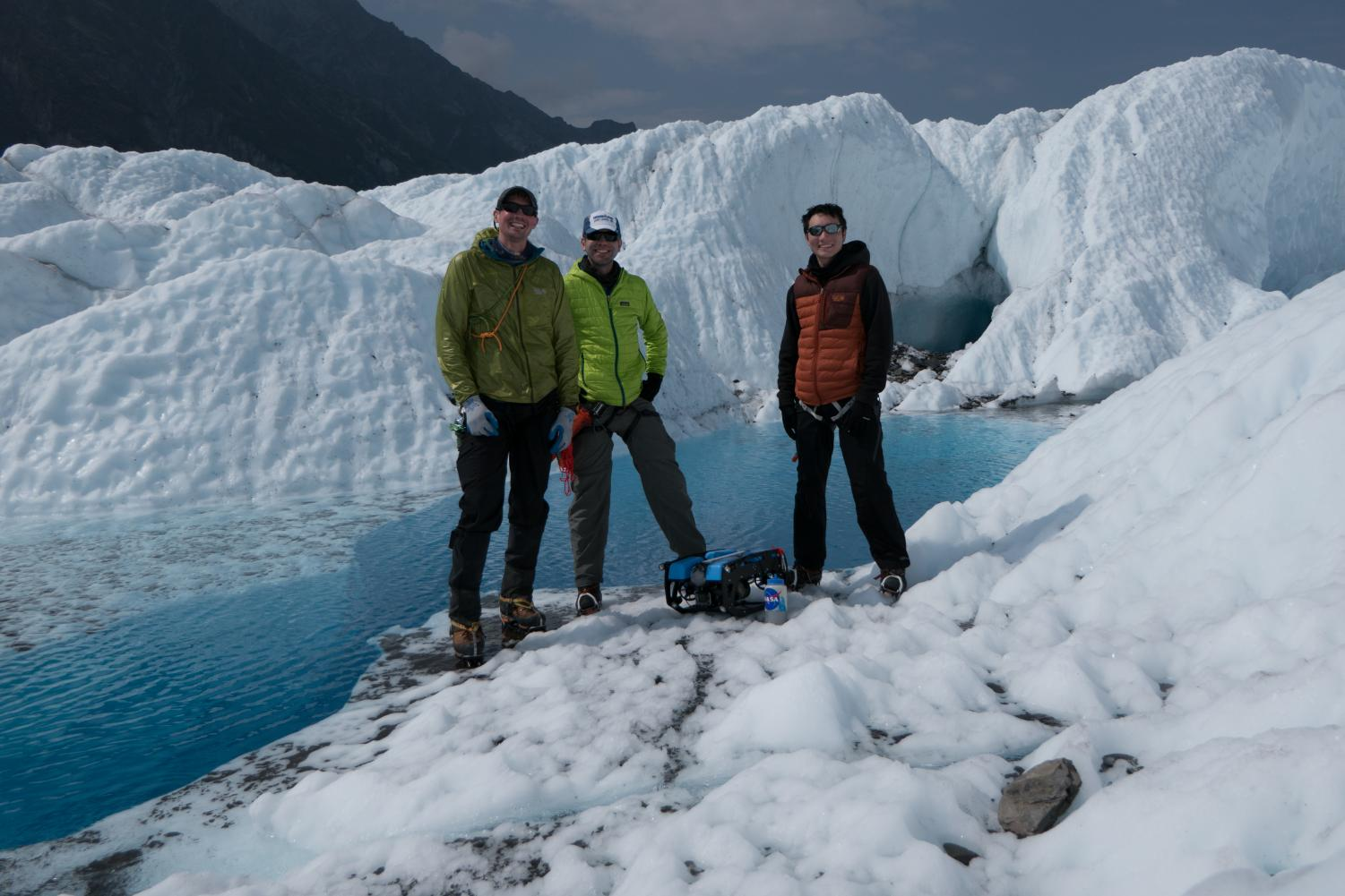 Andy+Klesh+%28center%29+traveled+to+Alaska%27s+Matanuska+Glacier+in+2017+to+test+out+mapping+technology+in+underwater+tunnels+called+moulins.+Klesh+said+that+same+technology+may+one+day+be+used+on+Jupiter%27s+moon+Europa.+Also+pictured%3A+Keeton+Kroon+and+John+Leighty.+