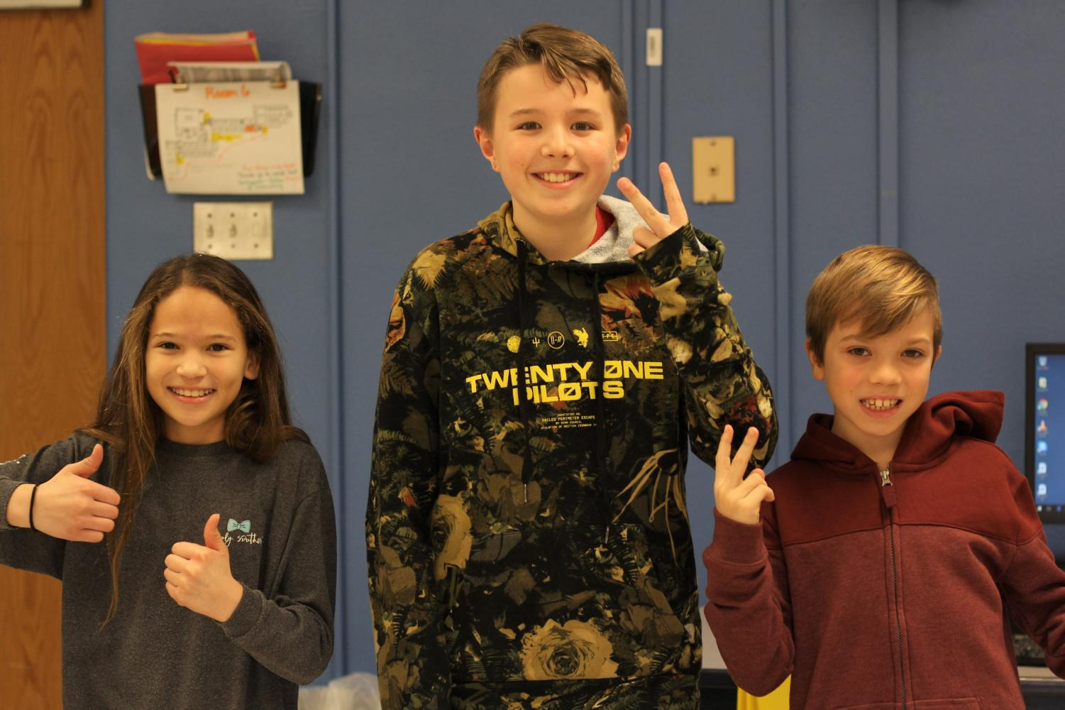 Elementary school students, James Eisenhart, Kevin Gabris and Aida Weidner from Babler discuss what they think their future at Lafayette will be like.