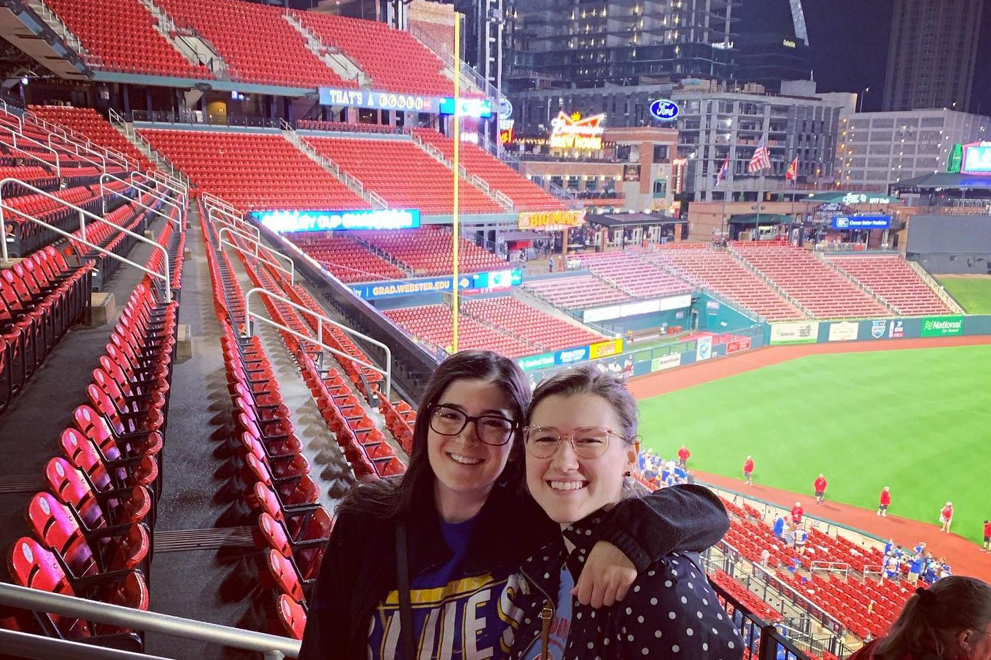 Jessica Foley celebrates the Blues win after Game Seven with family members at Busch Stadium.