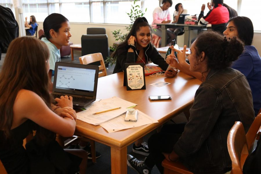 Students work on homework in the library during the new Flex Time.