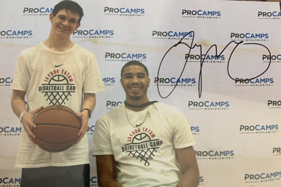 Sophmore+Tom+Richards+poses+with+NBA+star+and+St.+Louis+native+Jayson+Tatum.+%22I+met+Tatum+through+a+basketball+camp+I+attended+with+my+friend%2C%22+said+Richards.+