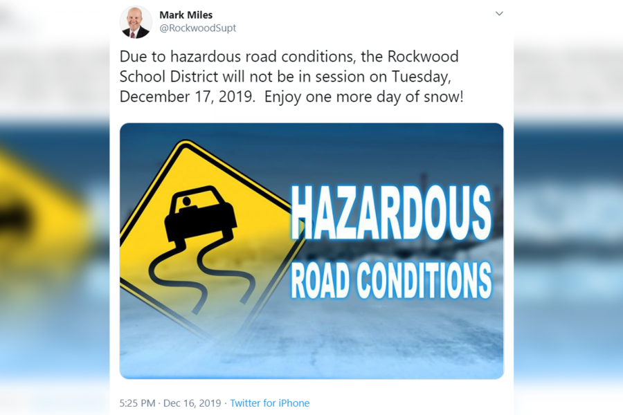 Superintendent+Mark+Miles+announced+that+the+Rockwood+School+District+would+be+closed+on+Dec.+17+at+5%3A25+p.m.+on+Dec.+16.+This+cancellation+leaves+students+to+take+their+1st+and+2nd+Hour+Finals+when+they+return+to+school+on+Dec.+18+without+in-class+study+time.