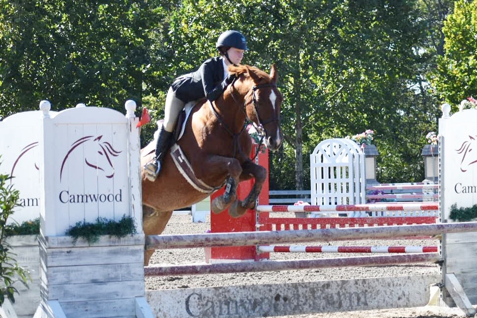 Sophomore Meredith Ambrose jumps her horse, Savia, over an obstacle during a competition at Camwood Farm in Tennessee.