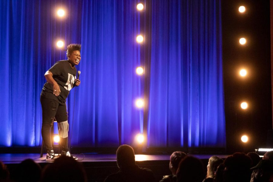 Comedian+Leslie+Jones+performs+her+stand-up+routine+in+her+Netflix+comedy+special+%22Time+Machine.%22+Photo+by+Emily+Weisenberger%2C+courtesy+of+Netflix+Media+Center.