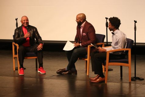 Pascal Beauboeuf, host of The Pascal Show, assists in asking questions at the Black History Month presentation in the Theatre on Feb. 21. Hall of Famer Ozzie Smith attended the event by invitation of his niece, sophomore Claireece Cross.