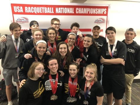 After being named fifth in the Nationals tournament, the Lafayette racquetball team poses for a photo. The team played in all sections of the tournament, including singles, doubles and mixed doubles for almost every player on the team.
