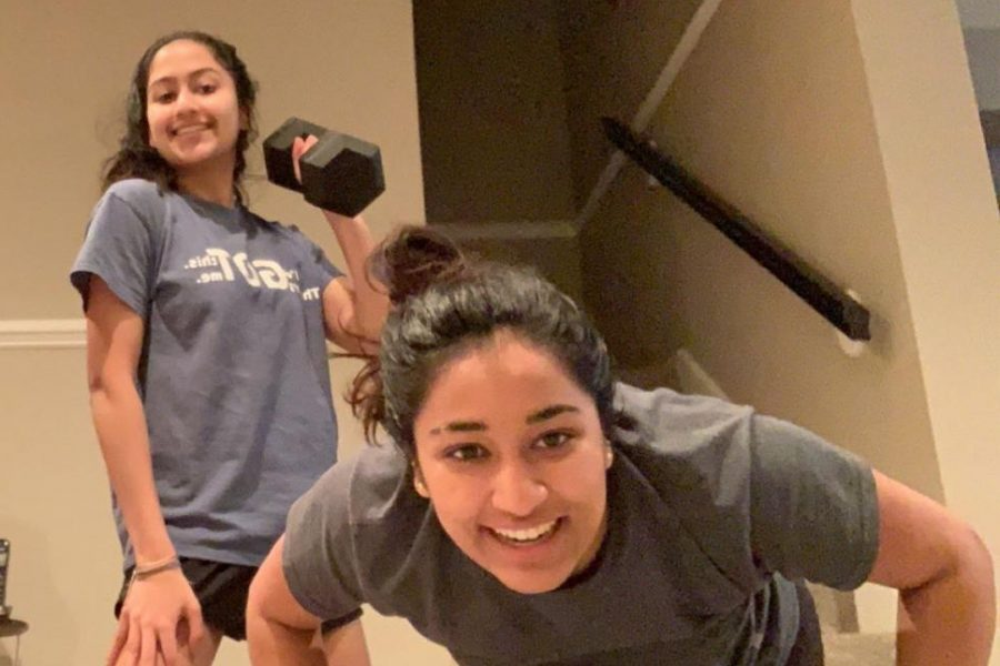 While quarantine has shut down public gyms, senior Vrisha Jagdish and her family find ways to work out at home.
