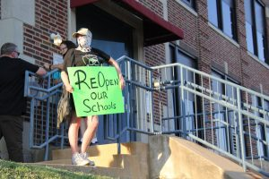 On July 23, Rockwood families gathered outside the Rockwood Annex in Eureka, MO during the Board of Education meeting to protest the District's plan for the return to school in the fall.