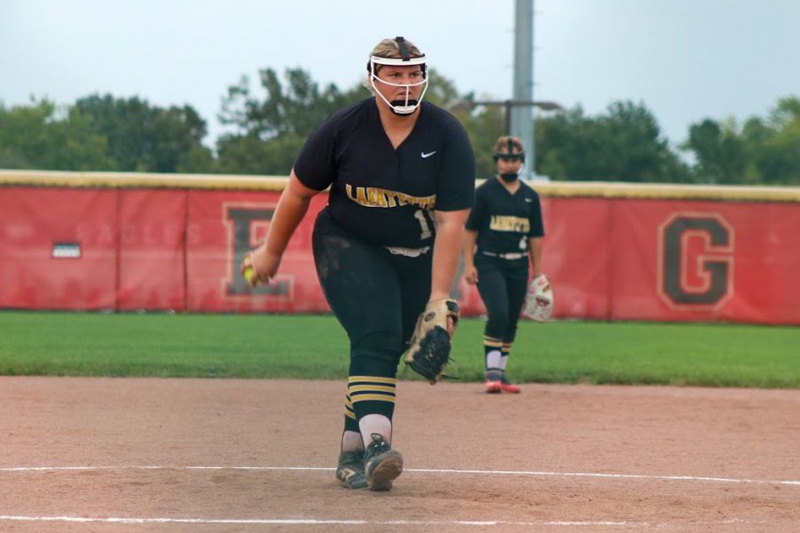 Senior Landee Wasson winds up her pitch in a game on Sept. 23. The Lady Lancers defeated Wentzville Liberty, 11-1, and have gone on undefeated as of Sept. 29.