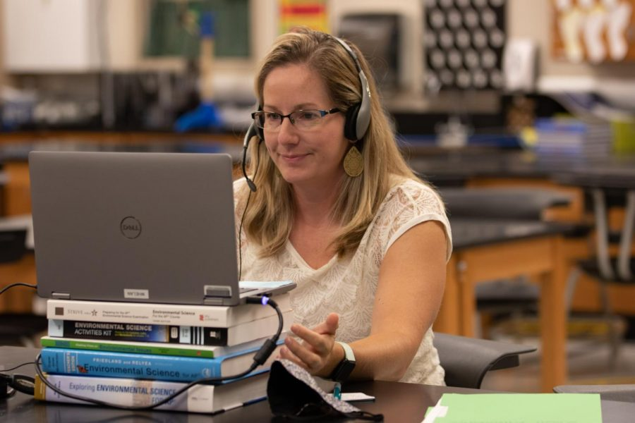 During her 1st Hour AP Environmental Science class, Gretchen Whelan begins her Zoom session. Teachers have been working from the building unless they were given permission to work from home due to a special circumstance like a health condition.