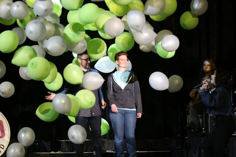 Balloons fall in celebration as guitar teacher Traci Bolton is announced the 2019-2020 school year Teacher of the Year (TOY). Nominations for TOY are due on Nov. 20 at midnight for the 2020-2021 school year.