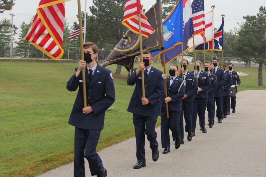 Members of ROTC perform the flag ceremony on September 11, 2020. Multiple ROTC members are also a part the Cyber Lancers teams.