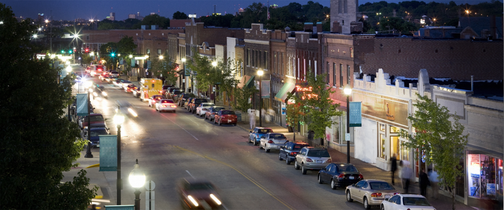Downtown Maplewood on a busy evening.  Explorestlouis.com also has excellent tips and fun spots in St. Louis to visit.
