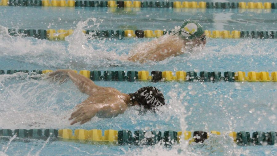 Lafayette+takes+on+Lindbergh+during+a+swim+meet.+The+Lancers+ended+up+losing+that+meet+111-76.
