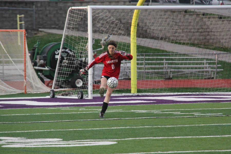 Natalie+Phelps+performs+a+goalie+kick+in+a+game+against+Eureka.+The+Lady+Lancers+would+go+on+to+lose+the+contest+2-0.