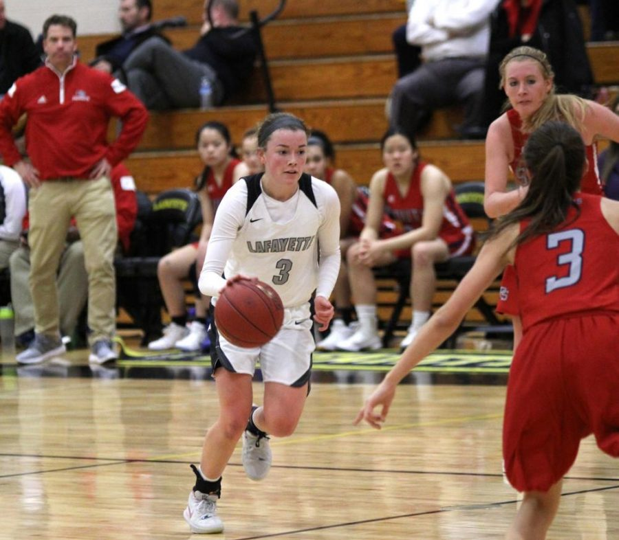 Junior Sydnie Wolf dribbles down the court to set up a play.  The Lady Lancers won 39-34, with Wolf making 16 points.