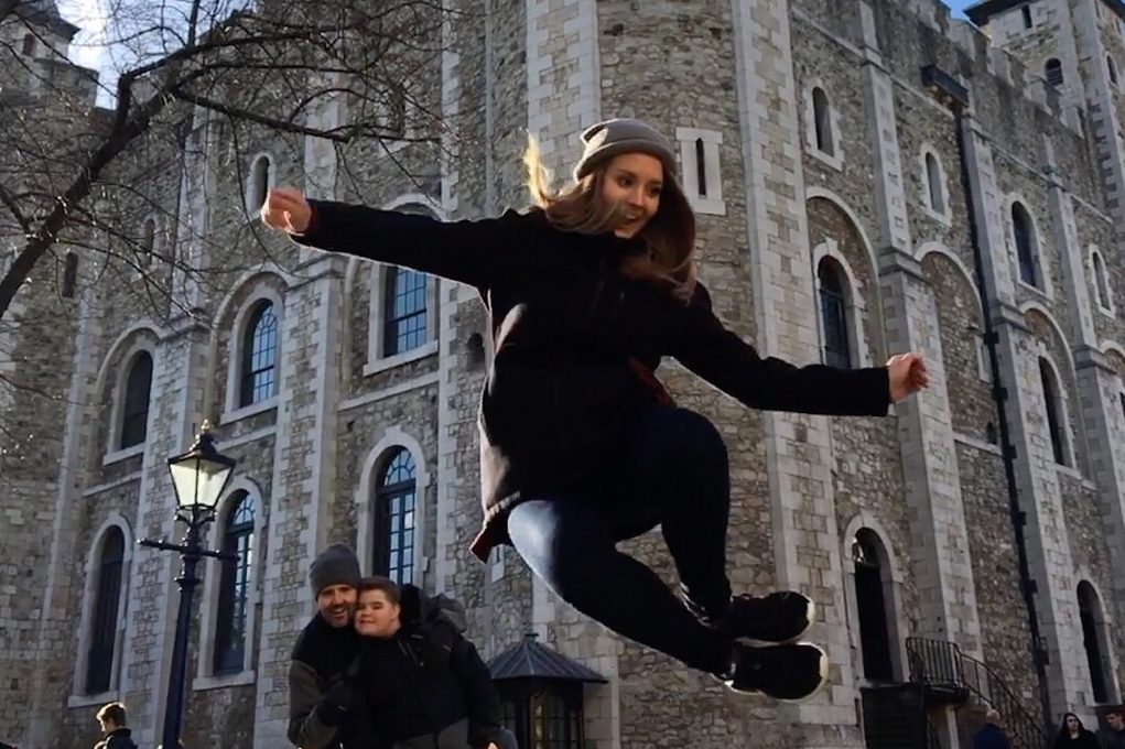 Sophomore Sydney Garcia heal clicks in from of the London Tower in London, England.