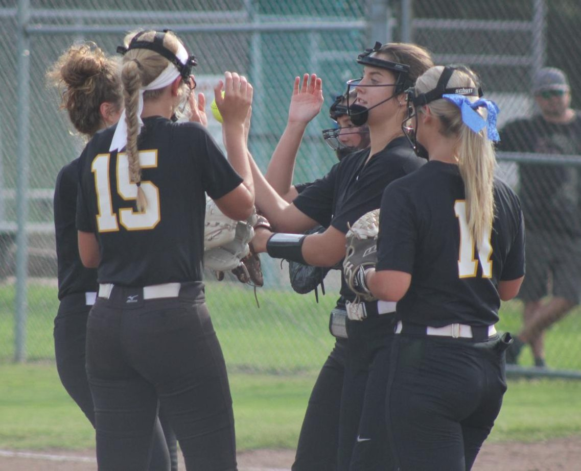 After+forcing+an+out+in+their+first+home+game+of+the+season+on+Aug.+31%2C++the+infield+gathers+in+the+pitcher%27s+circle+to+celebrate.+The+Lady+Lancers+shut-out+the+Parkway+South+Patriots+with+a+final+score+of+1-0.+The+Lady+Lancers+are+already+off+to+a+fast+start+with+a++3-1+record.+