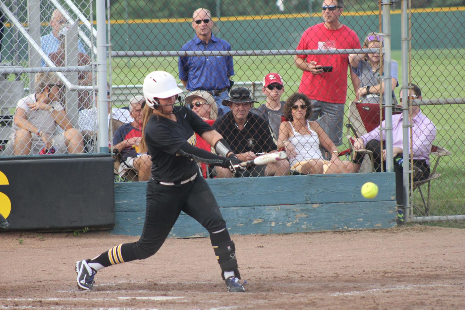 Keeping+her+eyes+on+the+ball%2C+junior+Hannah+Long+hits+a+ground+ball+down+the+third+base+line.+Long+has+a+.300+batting+average+and++team+high+of+four+RBIs+on+the+season.