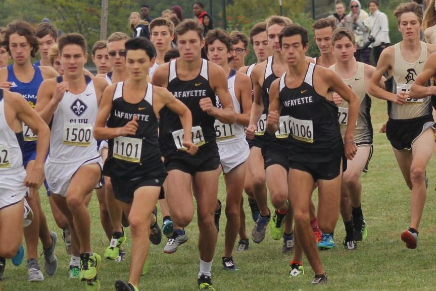 At the start of the Sept. 29 race at Living Word Church, the boys cross country team fights to get to the front of the pack. The Lancers placed sixth overall at the Parkway West Invitational, and senior Harrison Brown places third overall.