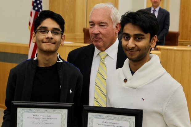 "Arjun and Rishi Ray receive the ""Blue Planet Green Challenge"" award from the Chesterfield Citizen Environmental Advisory Committee [CCE]  on Oct. 15, 2018."