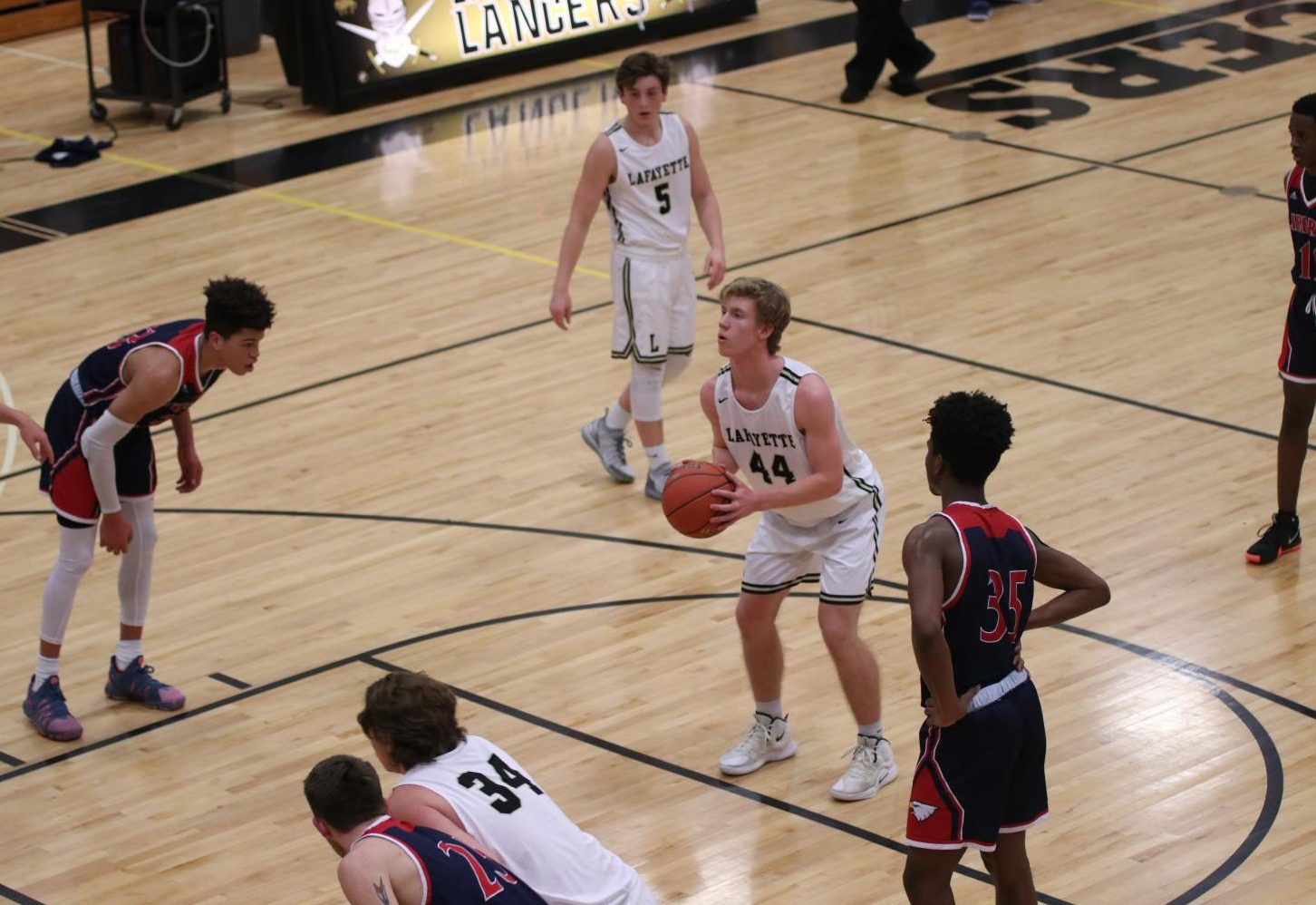 On Jan. 15, junior Mason Hewlett prepares to shoot a free-throw in a game against Wentzville Liberty.