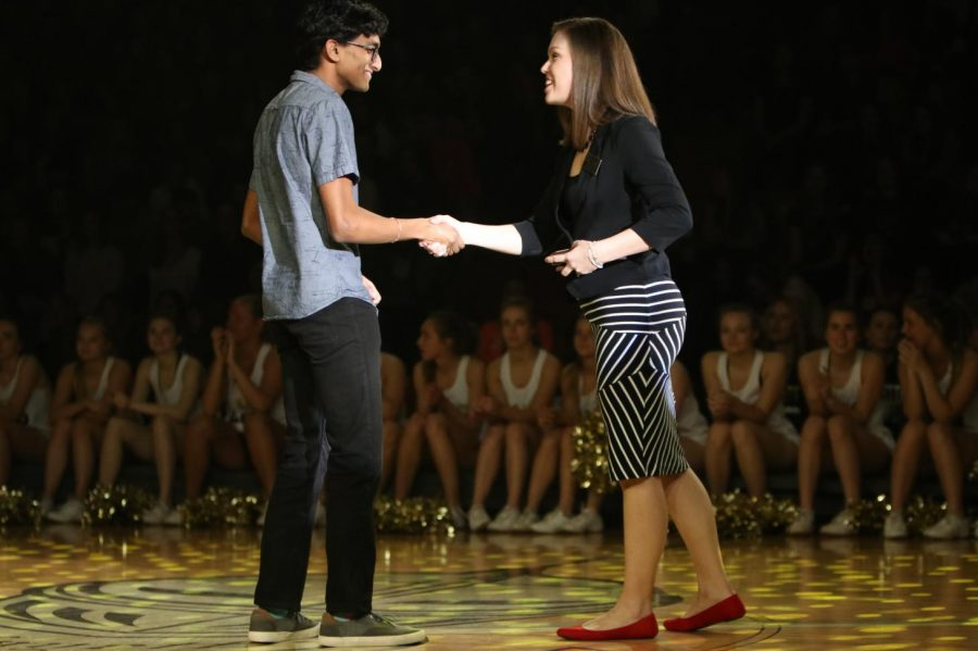As+one+of+only+five+current+Lancers+to+score+a+perfect+36+on+the+ACT%2C+senior+Bharat+Shreekrishnavilas+is+congratulated+by+Lauren+Sakowski%2C+2017-2018+Teacher+of+the+Year.