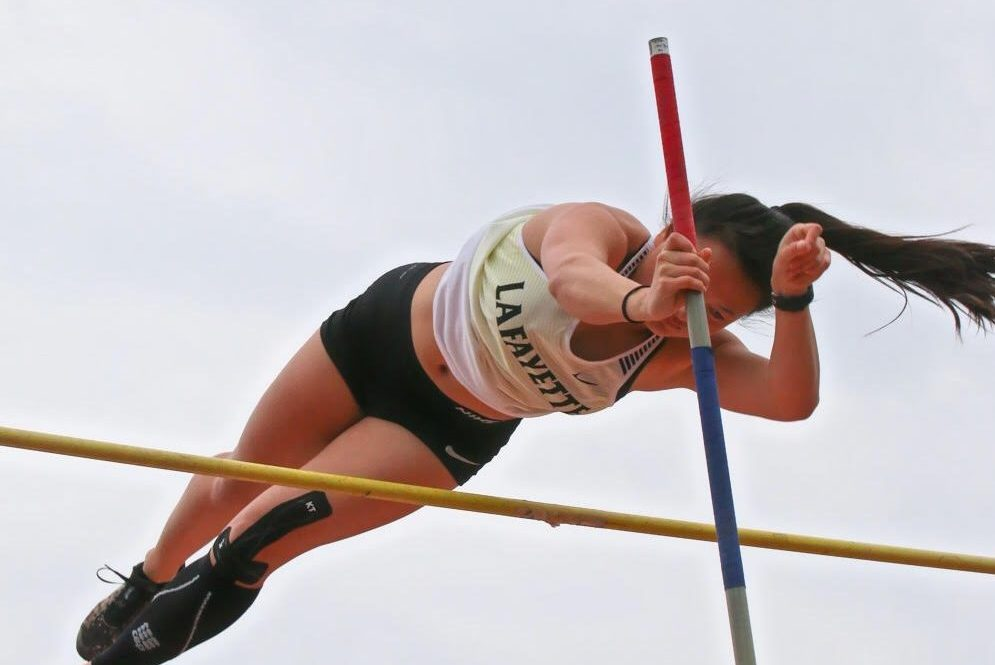 At the Parkway/Rockwood Meet on March 30, senior Ellie Schilling flies through the air after releasing her pole.