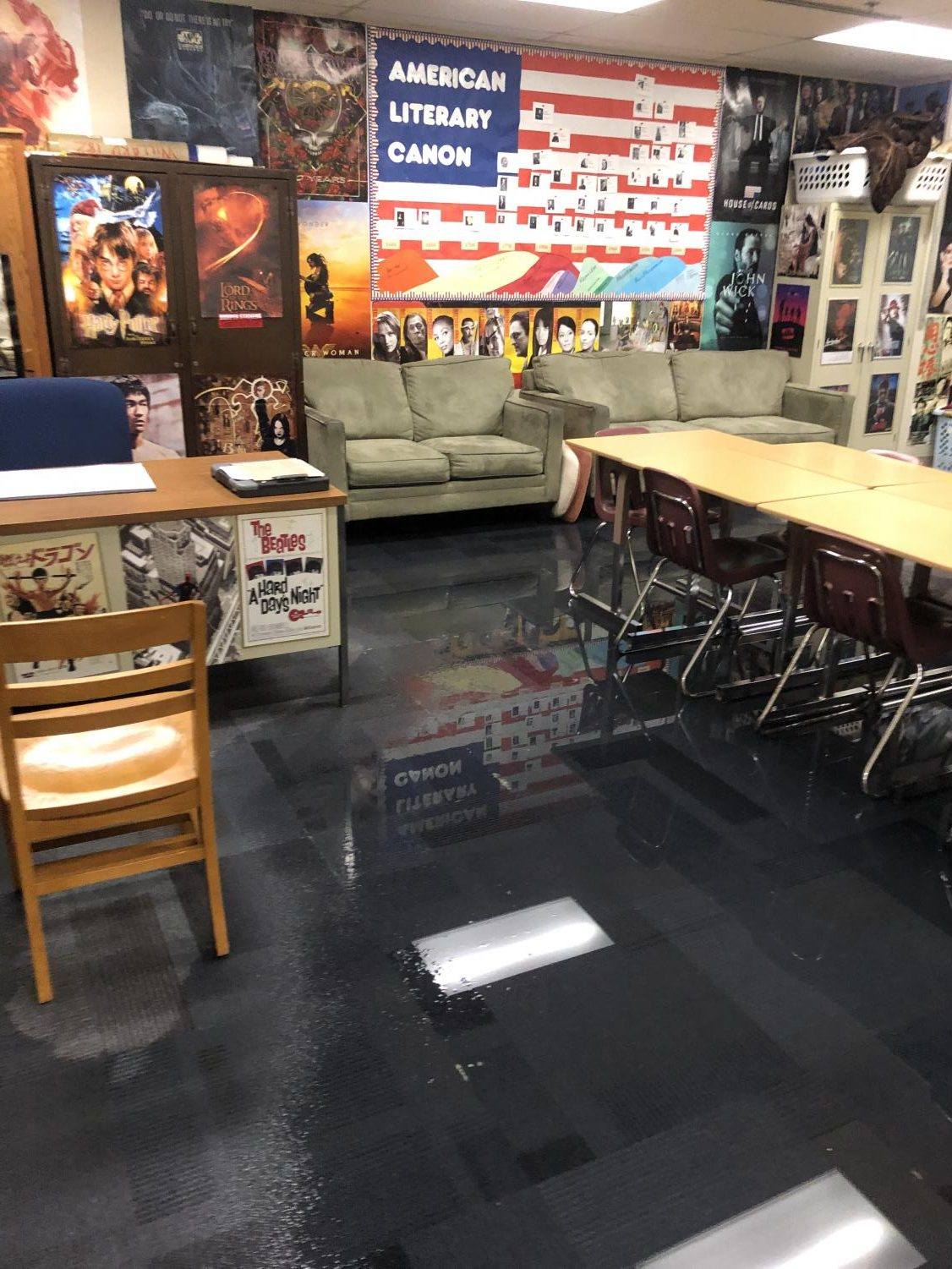 Water+soaks+a+portion+of+the+floor+in+Room+182%2C+Aug.+17.+Classes+in+Room+182+will+be+relocated+to+the+Writing+Center+in+Room+157.