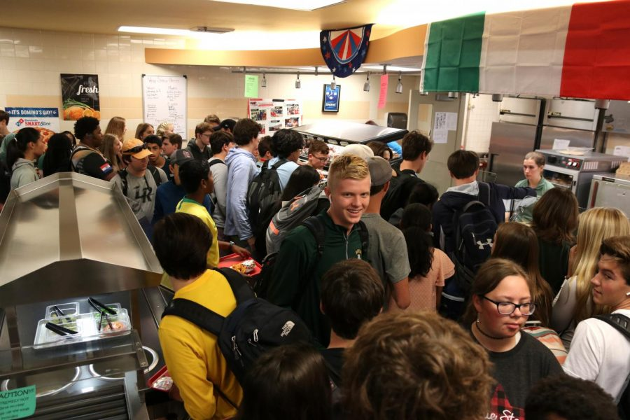 Students rush into Cafeteria on the first day of Flex Time.