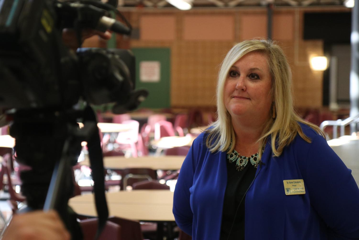 Principal Karen Calcaterra is interviewed by KMOV's Features Reporter, Steve Harris. All of the interviews took place during 4th Hour on Oct. 8.