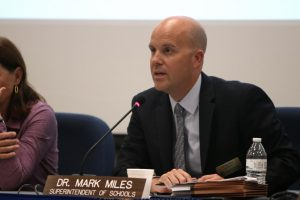 Superintendent Mark Miles speaks at the Oct. 3 Board of Education meeting.