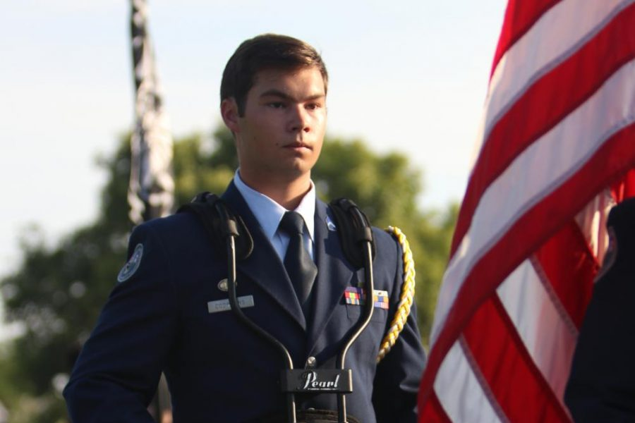 At the Sept. 11, 2019 Patriot Ceremony, Ben Coopmans stands at attention.