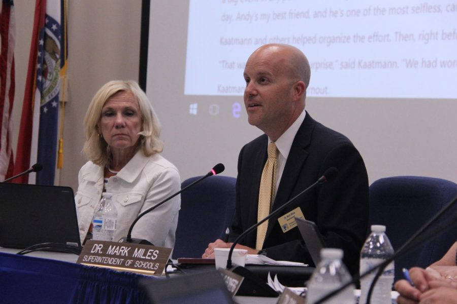 Board vice president Lynne Midyett and Superintendent Mark Miles attend the Aug. 15, 2019 Board of Education meeting.
