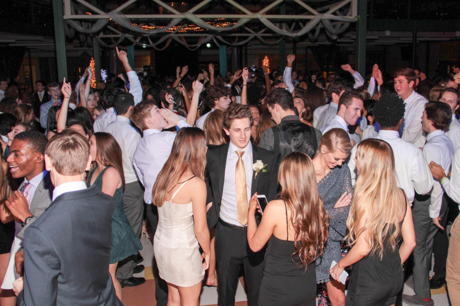 Students dance under the lights of the 2019 Lafayette Winter Formal that was themed