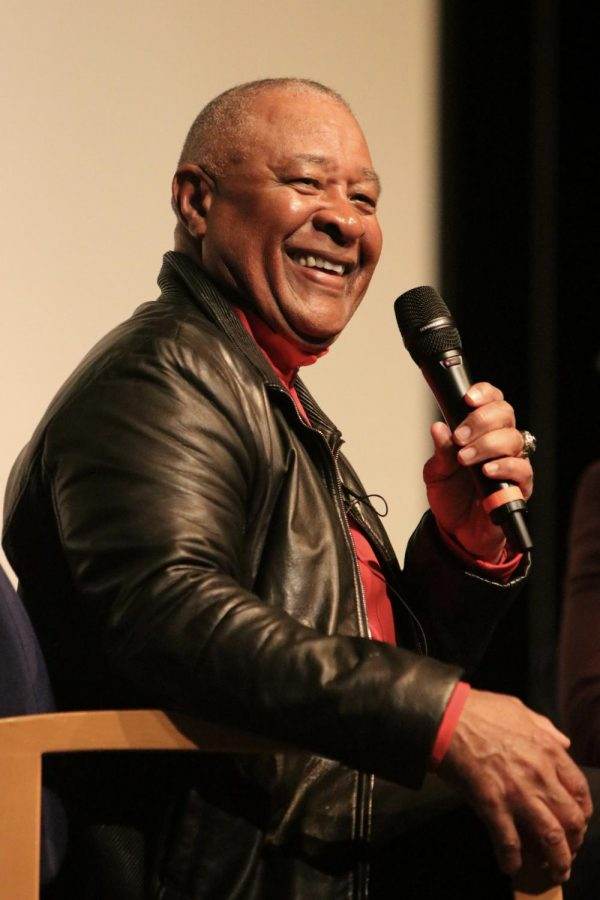 As he smiles at the crowd, Ozzie Smith responds to a question during his presentation at Lafayette for Black History Month on Feb. 21.