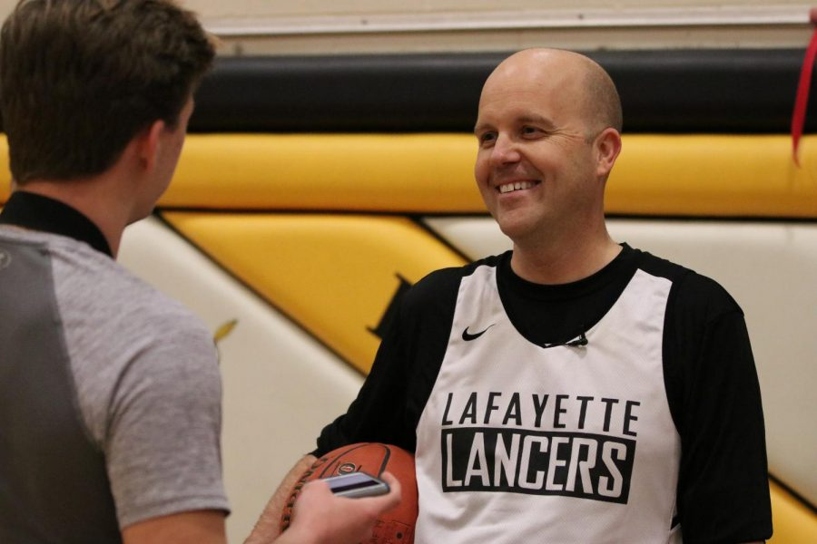 Superintendent Mark Miles attends a Lafayette basketball practice.