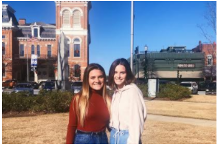 "Senior Haylee Crowe and sister Hannah Crowe, 2018 Lafayette graduate, visit Covington, Georgia. This is the location where the show ""The Vampire Diaries"" was filmed."