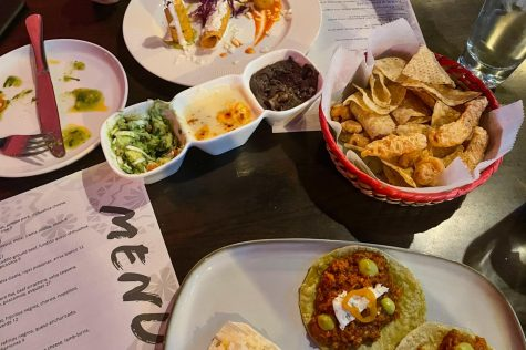 Malinche is a traditional Mexican restaurant that offers a fantastic meal and authentic exposure to Mexican culture. Featured at the top of the image is the Flautas de Pollo, next the Botaneando and finally the Tacos de Chicharron.