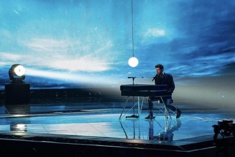 "Dutch singer Duncan Laurence rehearses his entry ""Arcade"" ahead of the second semi-final of the Eurovision Song Contest 2019 in Tel Aviv, Israel. Lauarence would later go on to win the entire competition. the 2021 edition is to be held in Rotterdam, Netherlands after being cancelled in 2020 due to COVID-19."