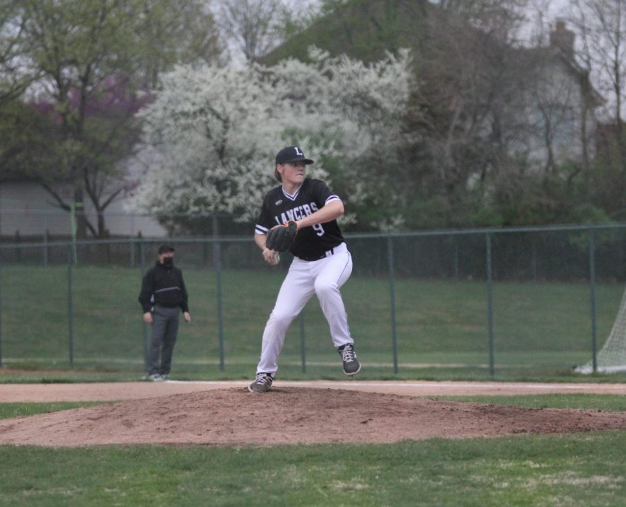 Sophomore PJ Rogan takes the mound on April 8 against Lindbergh. Rogan threw three innings and gave up seven hits.