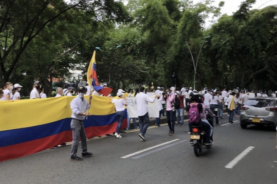 Peaceful+protests+that+took+place+in+one+of+Colombias+biggest+cities%2C+Cali.+Cali+has+been+the+city+with+the+most+protests+so+far%2C+along+with+other+big+cities+like+Bogota+and+Medellin.